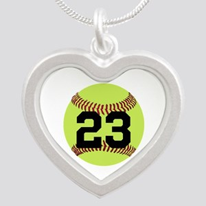 Softball Number Personalized Silver Heart Necklace