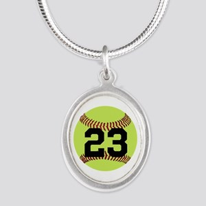 Softball Number Personalized Silver Oval Necklace