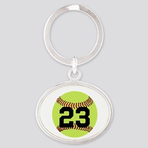 Softball Number Personalized Oval Keychain
