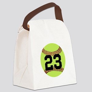 Softball Number Personalized Canvas Lunch Bag