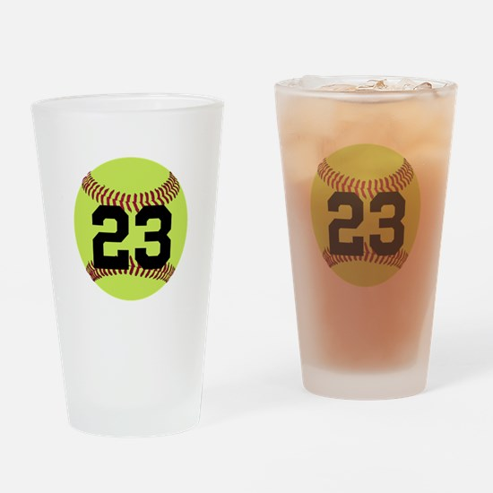 Softball Number Personalized Drinking Glass