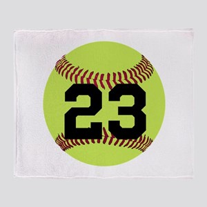 Softball Number Personalized Throw Blanket