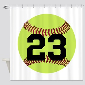 Softball Number Personalized Shower Curtain