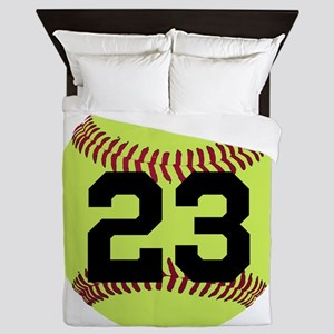 Softball Number Personalized Queen Duvet