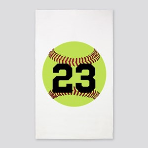 Softball Number Personalized Area Rug