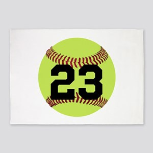 Softball Number Personalized 5'x7'Area Rug