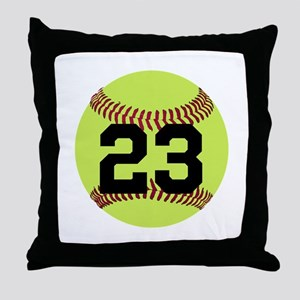Softball Number Personalized Throw Pillow