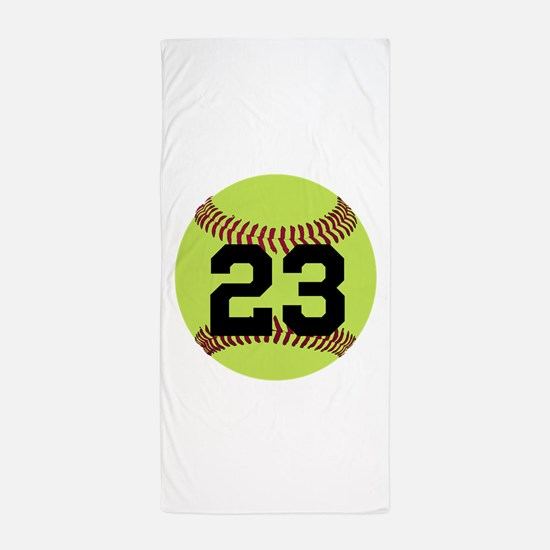 Softball Number Personalized Beach Towel