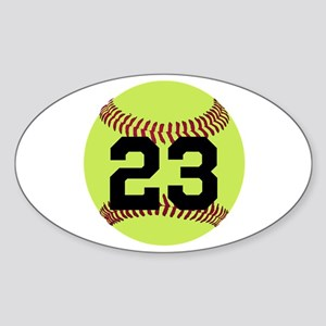 Softball Number Personalized Sticker (Oval)