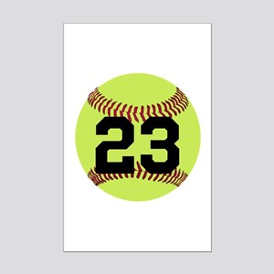 Softball Number Personalized Mini Poster Print