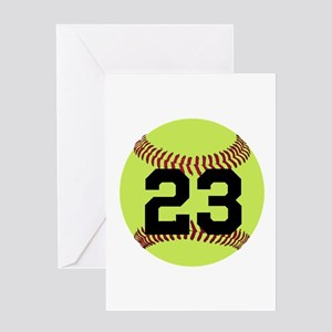 Softball Number Personalized Greeting Card