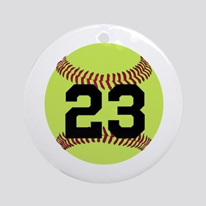 Softball Number Personalized Round Ornament