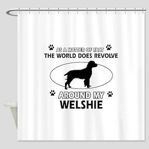 Welshie dog funny designs Shower Curtain