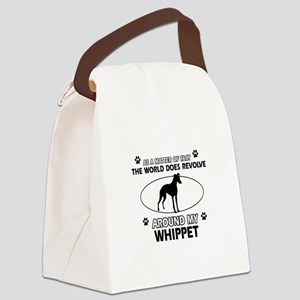 Whippet dog funny designs Canvas Lunch Bag