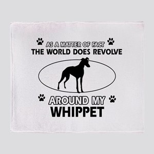 Whippet dog funny designs Throw Blanket