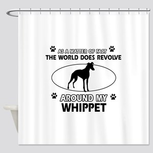 Whippet dog funny designs Shower Curtain