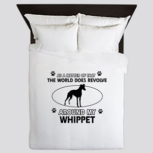 Whippet dog funny designs Queen Duvet