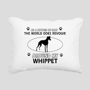 Whippet dog funny designs Rectangular Canvas Pillo