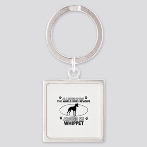 Whippet dog funny designs Square Keychain