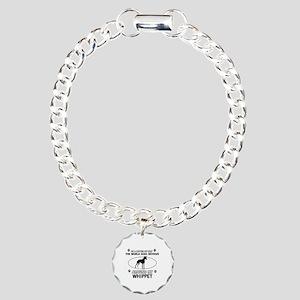 Whippet dog funny designs Charm Bracelet, One Char