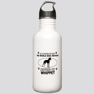 Whippet dog funny designs Stainless Water Bottle 1