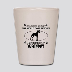 Whippet dog funny designs Shot Glass