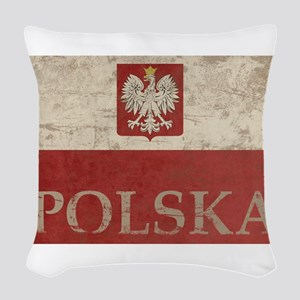 Vintage Polska Woven Throw Pillow