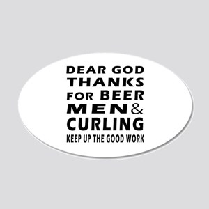 Beer Men and Curling 20x12 Oval Wall Decal