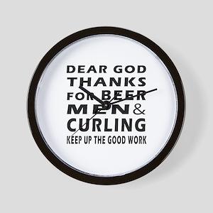Beer Men and Curling Wall Clock