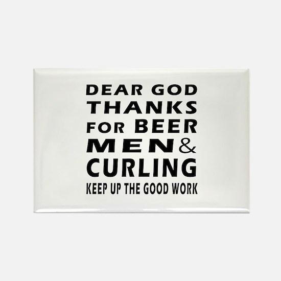 Beer Men and Curling Rectangle Magnet