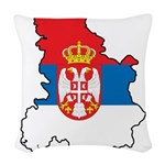 Map Of Serbia Woven Throw Pillow
