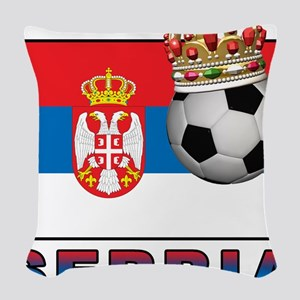 Serbia Football Woven Throw Pillow