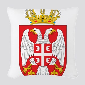 Serbia Coat Of Arms Woven Throw Pillow