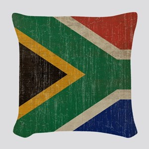 Vintage South Africa Flag Woven Throw Pillow