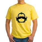 Mustache Penguin Trend Yellow T-Shirt