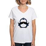 Mustache Penguin Trend Women's V-Neck T-Shirt