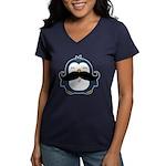 Mustache Penguin Trend Women's V-Neck Dark T-Shirt