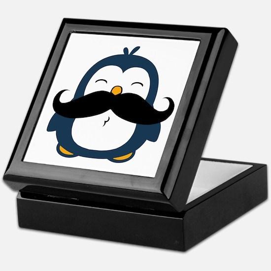 Mustache Penguin Trend Keepsake Box
