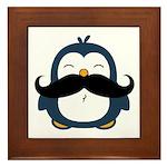 Mustache Penguin Trend Framed Tile