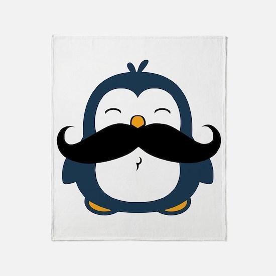 Mustache Penguin Trend Throw Blanket