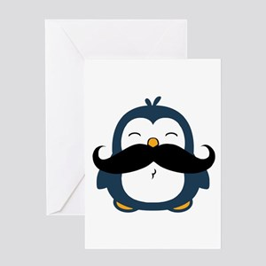Mustache Penguin Trend Greeting Card