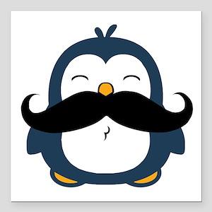"""Mustache Penguin Trend Square Car Magnet 3"""" x 3"""""""