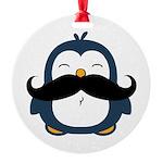 Mustache Penguin Trend Round Ornament