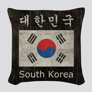 Vintage South Korea Flag Woven Throw Pillow