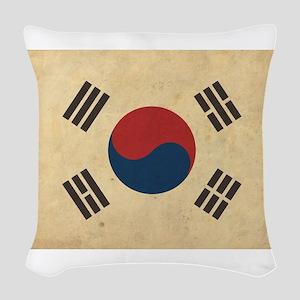 Vintage South Korea Flag Woven Throw Pillow