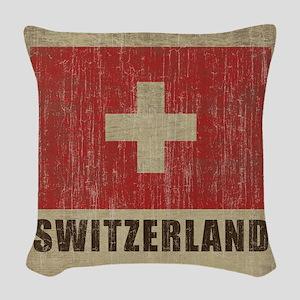 Vintage Switzerland Woven Throw Pillow