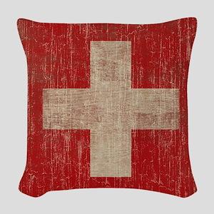 Vintage Switzerland Flag Woven Throw Pillow