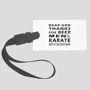 Beer Men and Karate Large Luggage Tag