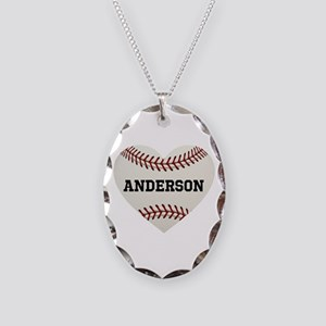 Baseball Love Personalized Necklace Oval Charm