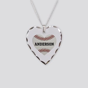 Baseball Love Personalized Necklace Heart Charm